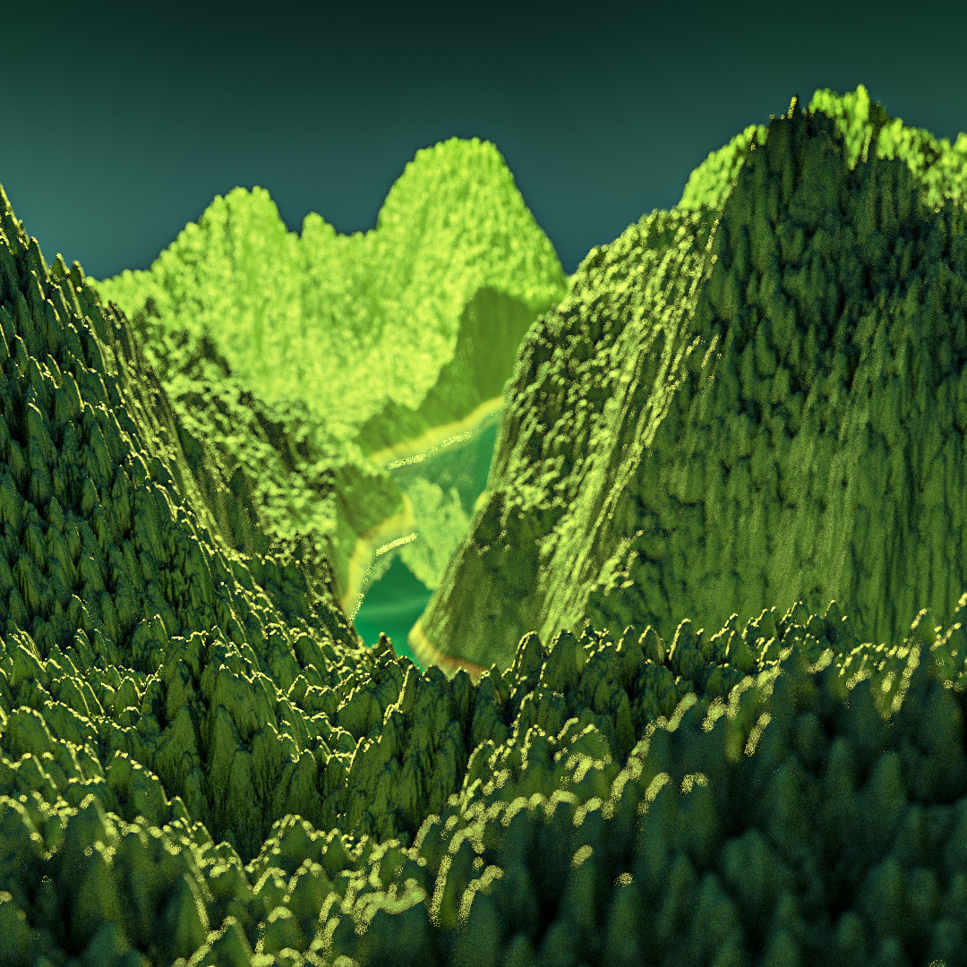 blender procedural landscape mountain square