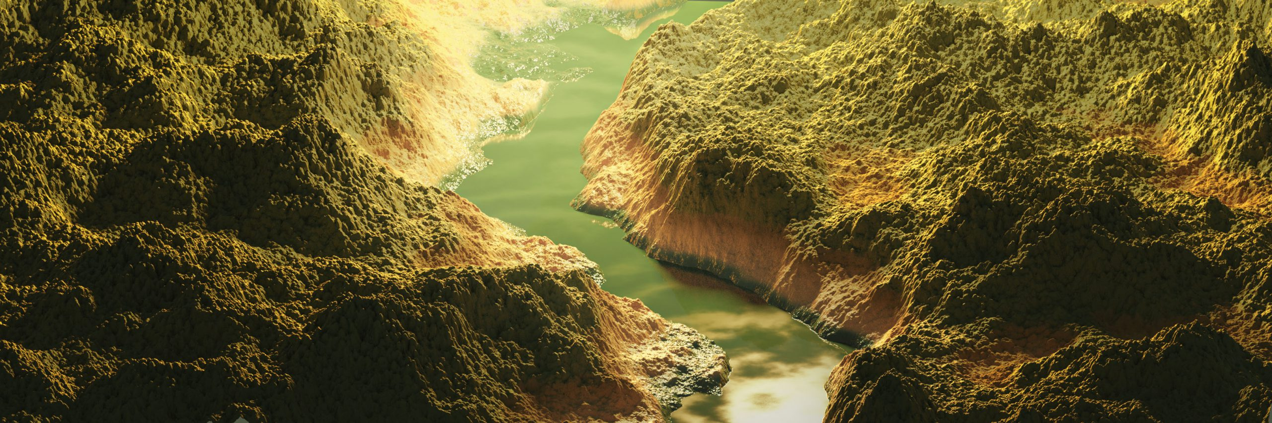 3d blender procedural landscape mountains river